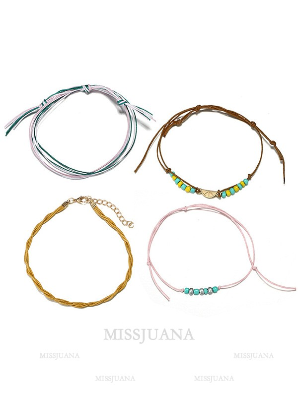 Vintage Beach Alloy With Semicircle Anklets
