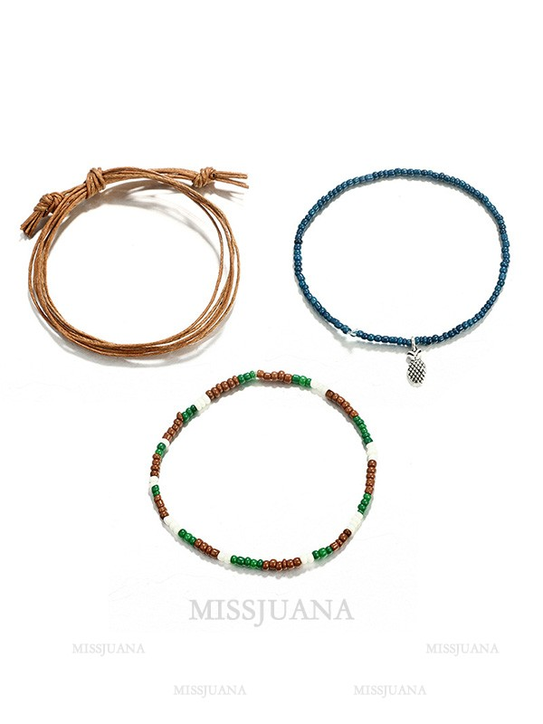 Simple Bohemian Alloy With Pineapple Bracelets/Anklets(3 Pieces)