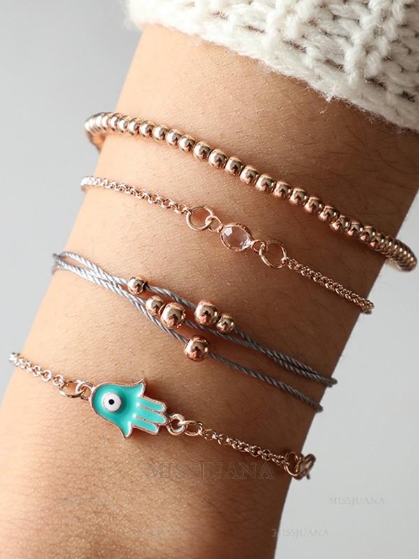 Personalized Alloy Bracelets/Anklets(4 Pieces)