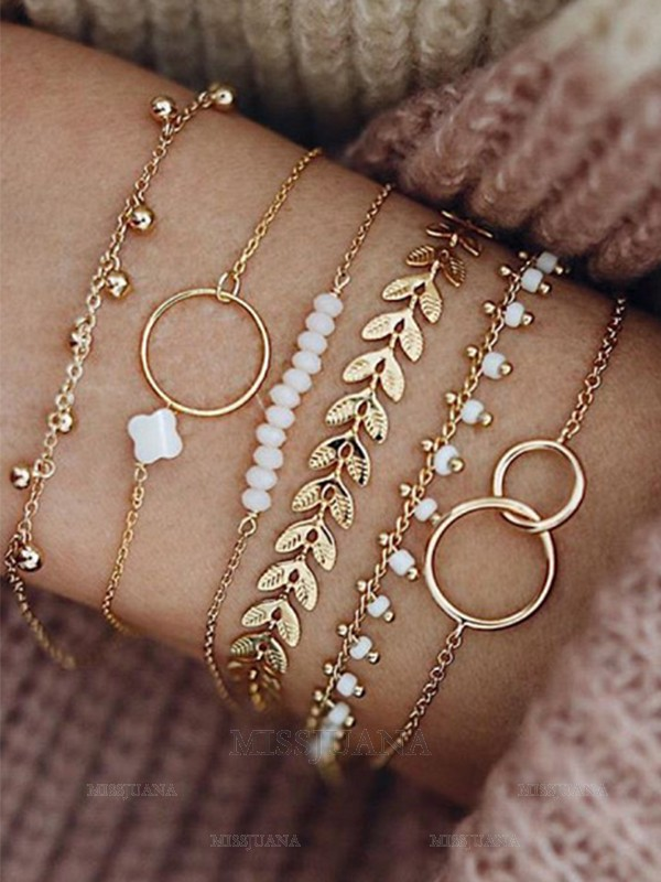 Fancy Alloy With Flower/Beads Bracelets(6 Pieces)
